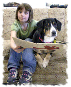 Bayla in the reading to dogs program